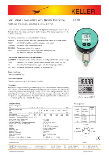 Intelligent Transmitter  with Digital Indication LEO 3