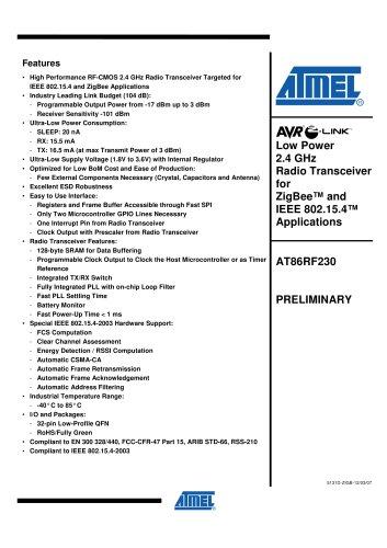 AT86RF230 Preliminary