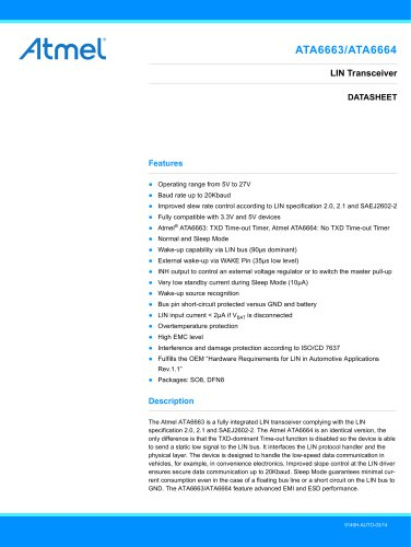 ATA6663/ATA6664 Single-LIN Bus Transceiver in 3x3mm DFN Package