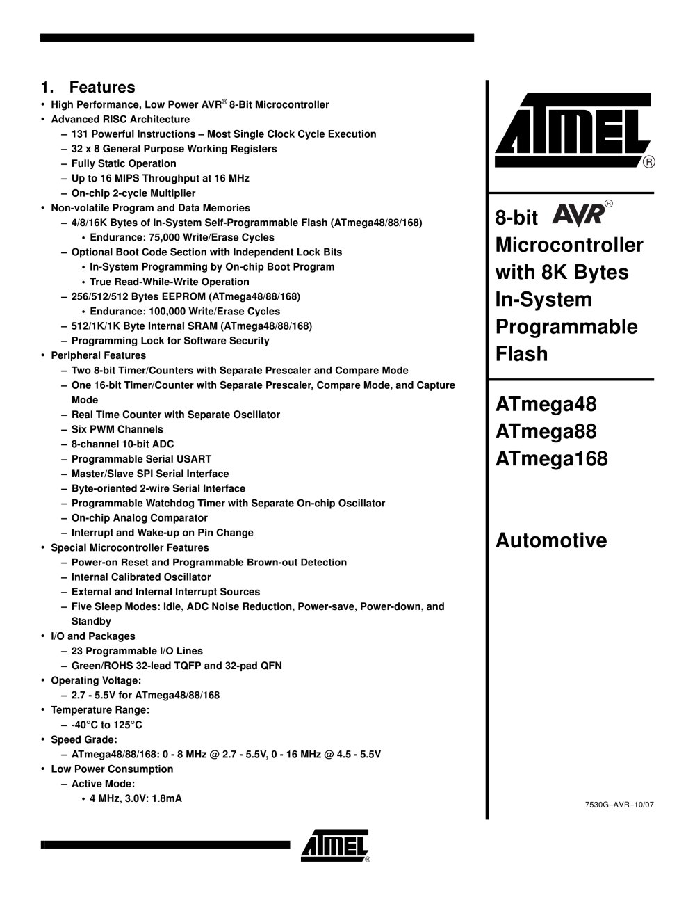 Atmega48 88 168 Automotive Atmel Pdf Catalogue Technical Avr Mcu Family Expanded 1 335 Pages