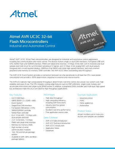 Atmel AVR UC3 32-bit Flash Microcontrollers