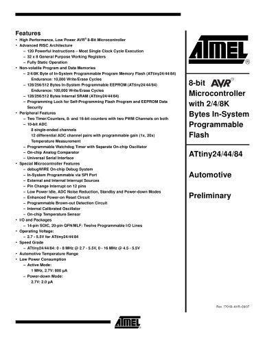 ATtiny24/44/84 Automotive Preliminary