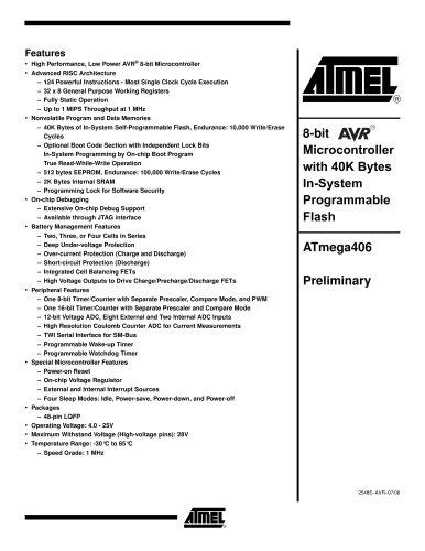 Smart Battery AVR ATmega406 Preliminary