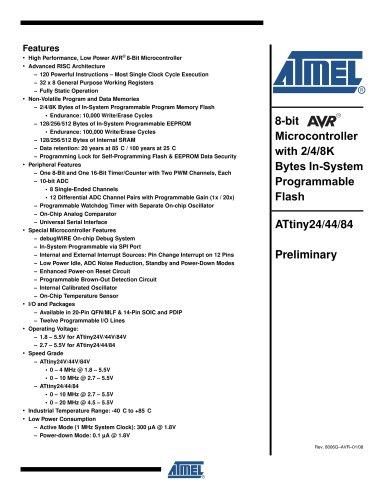 tinyAVR ATtiny24/44/84 Preliminary