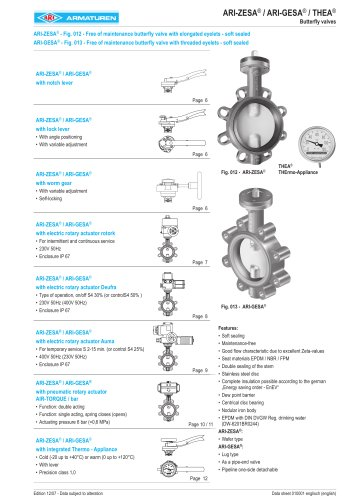 ARI-GESA Free of maintenance butterfly valve with threaded eyelets - soft sealed