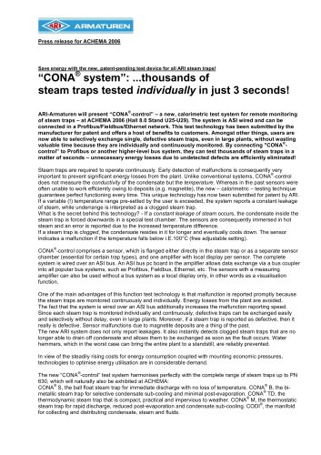 CONA® system: ...thousands of steam traps tested individually in just 3 seconds!