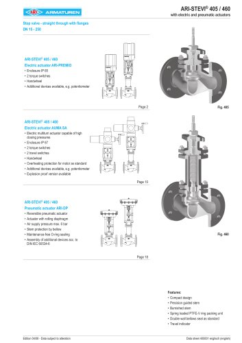 Stop valve in straightway form DN 15-250