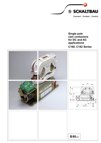 Single pole cam contactors for DC and AC C160, C162