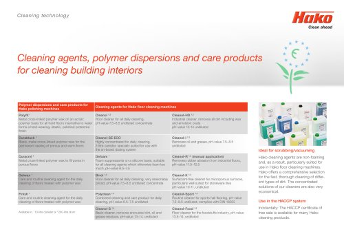 Cleaning Agents and Dosing Systems