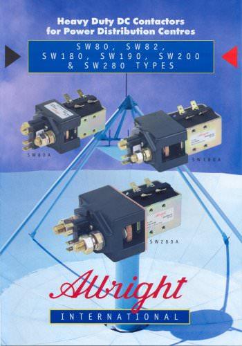 Heavy Duty DC Contactors for Power Distribution Centres SW80, SW82, SW180, SW190, SW200 & SW280 Series of D.C. Contactors
