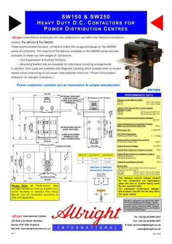 SW150 & SW250 Heavy Duty D.C. Contactors for Power Distribution Centres