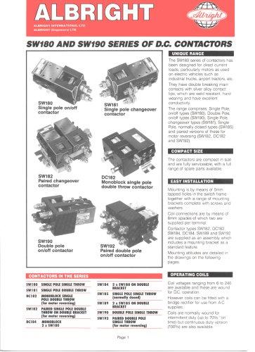 SW180 Series of D.C. Contactors