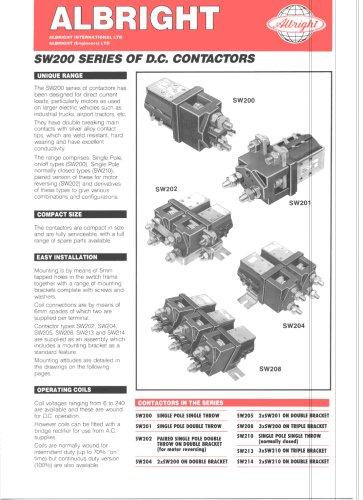 SW200 Series of D.C. Contactors