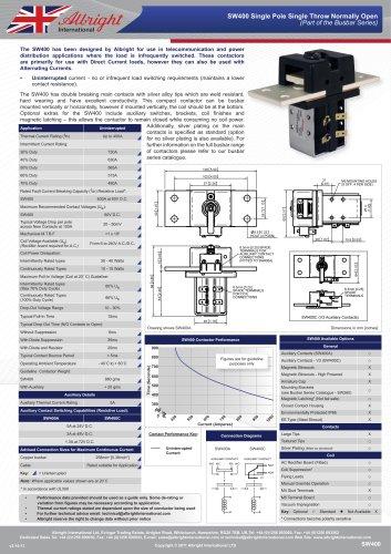 SW400 Heavy Duty D.C. Contactors for Power Distribution Centres