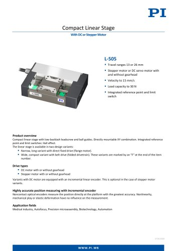 Compact Linear Stage - With DC or Stepper Motor - L-505