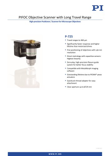 PIFOC Objective Scanner with Long Travel Range High-precision Positioner / Scanner for Microscope Objectives P-725