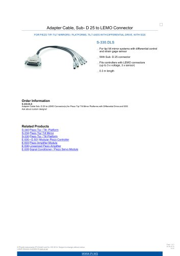 S-330.DLS Adapter Cable, Sub-D 25 to LEMO Connector