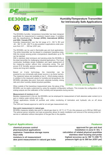 EE300EX-HT - Humidity/Temperature Transmitter for Intrinsically Safe Applicatons