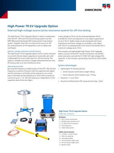 High Power 70 kV Upgrade Option - Datasheet