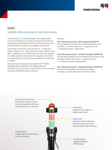 SAA2-Scalable safety accessory to mark testing area-Datasheet
