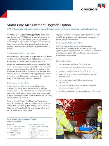 Stator Core Measurement Upgrade Option - Datasheet