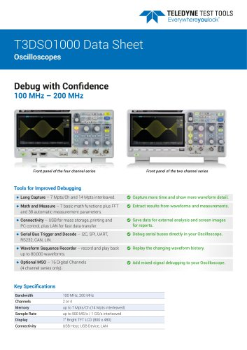 T3DSO1000 Data Sheet Oscilloscopes