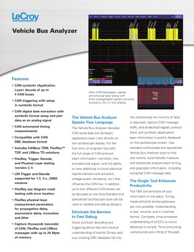 Vehicle Bus Analyzers - LeCroy - PDF Catalogs | Technical