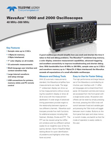 WaveAce 1000 and 2000 Oscilloscopes