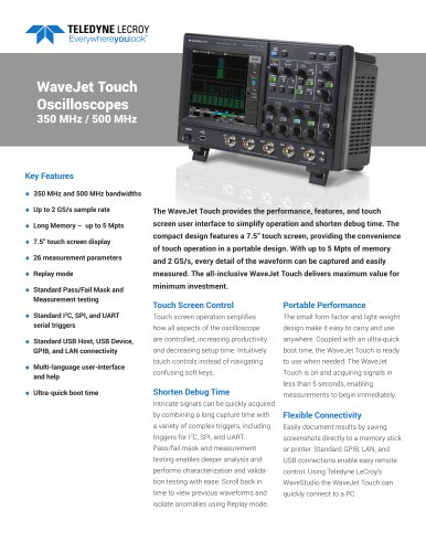 WaveJet Touch Oscilloscopes 350 MHz / 500 MHz