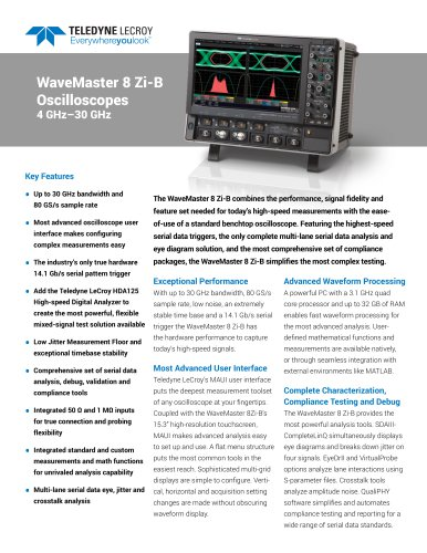 WaveMaster 8 Zi-B Oscilloscopes 4 GHz–30 GHz