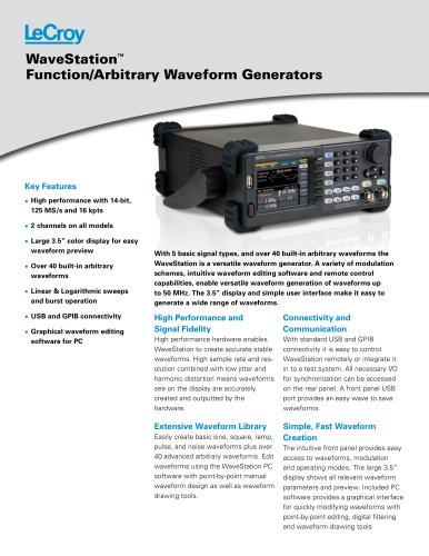 WaveStation Function/Arbitrary Waveform Generators