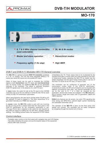 MO-170 DVB-T and DVB-H Modulator