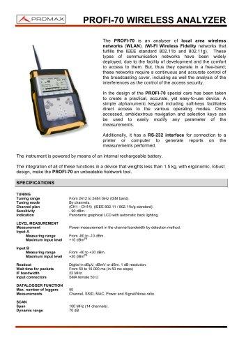 PROFI-70 Wireless networks analyser
