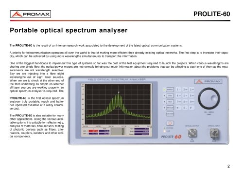 PROLITE-60 Field Optical spectrum analyser