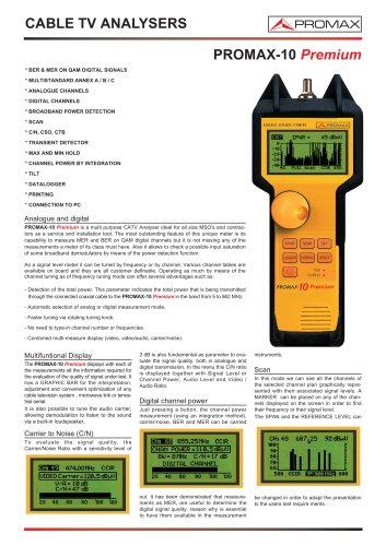 PROMAX 10 Premium Cable TV QAM Analyser