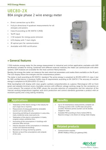 UEC80-2X - 80A single phase 2 wire energy meter