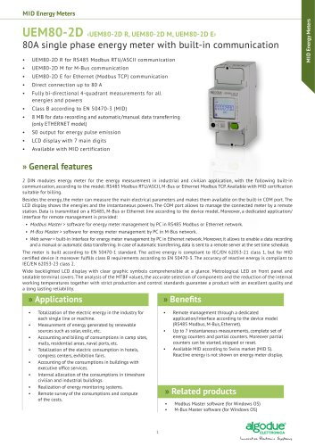 UEM80-2D - 80A single phase energy meter with built-in communication