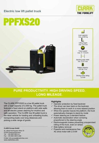Electric low lift pallet truck PPFXS20