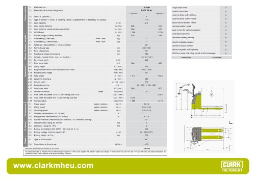 Specification sheet CLARK C PT 20 ac