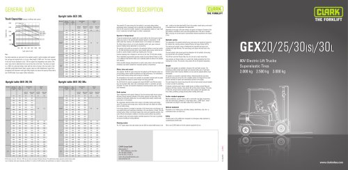 Specification sheet CLARK GEX20/25/30(s)/30L