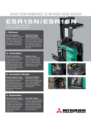 ESR15N/ESR18N 3000 / 3500 LB CAPACITY ELECTRIC REACH TRUCKS