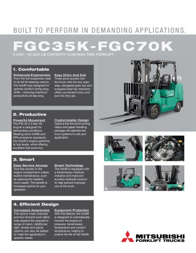 FGC35K-FGC70K IC CUSHION TIRE FORKLIFT TRUCKS