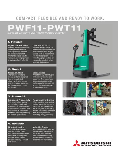 PWF11-PWT11 2,200 LB CAPACITY LIGHT-DUTY WALKIE STACKER