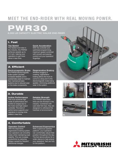 PWR30 6,000  lb capacity ElEctric WalkiE End-ridEr