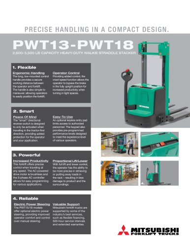 PWT13-PWT18 2600-3500 lb capacity Heavy-Duty Walkie straddle Stacker