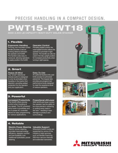 PWT15-PWT18  3000 - 3500 LB CAPACITY HEAVY-DUTY WALKIE STACKER