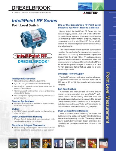 RF Admittance Level Measurement RXL Series, IntelliPoint