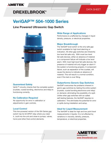 Ultrasonic Level Measurement VeriGAP Series