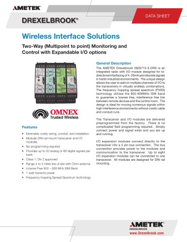 Wireless Interface Solutions 560-5715-x-DRX Series, Two Way Wireless