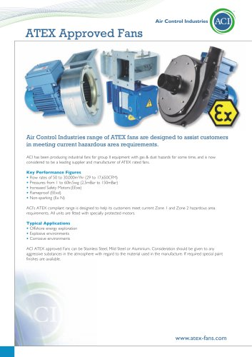 ACI ATEX Rated Fans and Blowers - AIR CONTROL INDUSTRIES LTD - PDF
